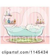 Bubble Bath Tub In A Pink Bathroom