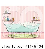 Cartoon Of A Bubble Bath Tub In A Pink Bathroom Royalty Free Vector Clipart