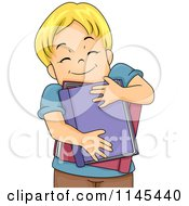 Cartoon Of A Blond Boy Hugging Books Royalty Free Vector Clipart