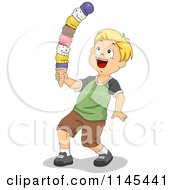 Cartoon Of A Blond Boy Balancing A Huge Ice Cream Cone Royalty Free Vector Clipart by BNP Design Studio