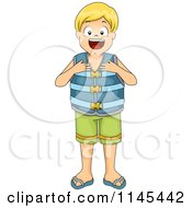 Cartoon Of A Blond Boy Wearing A Life Jacket Royalty Free Vector Clipart