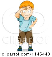 Cartoon Of A Red Haired Boy Peering And Covering His Eyes Royalty Free Vector Clipart