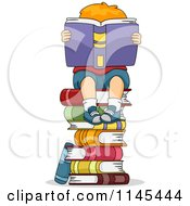 Cartoon Of A Red Haired Boy Reading On A Stack Of Books Royalty Free Vector Clipart