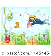 Cartoon Of A Scuba Diver Kid With Letters And Numbers Royalty Free Vector Clipart