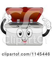 Cartoon Of A Container Mascot Pointing Inside Royalty Free Vector Clipart
