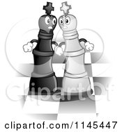 Cartoon Of Chess Kings Battling On A Board Royalty Free Vector Clipart by BNP Design Studio