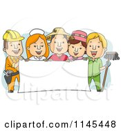 Cartoon Of People Of Different Occupations Holding A Banner Royalty Free Vector Clipart by BNP Design Studio