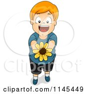Cartoon Of A Happy Red Haired Boy Holding Out A Flower Royalty Free Vector Clipart by BNP Design Studio