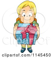 Cartoon Of A Blond Boy Holding Up A Gift Royalty Free Vector Clipart by BNP Design Studio