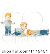 Cartoon Of A Red Haired Boy Doing A Stop Drop And Roll Safety Exercise Royalty Free Vector Clipart
