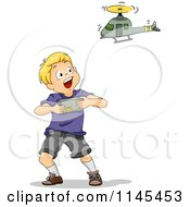 Cartoon Of A Blond Boy Playing With A Remote Controlled Helicopter Royalty Free Vector Clipart