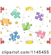 Cartoon Of A Seamless Pattern Of Puzzle Pieces Royalty Free Vector Clipart
