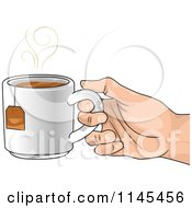 Cartoon Of A Hand Holding A Cup Of Hot Tea Royalty Free Vector Clipart by BNP Design Studio