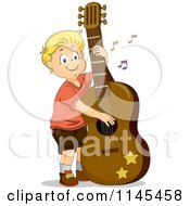 Cartoon Of A Blond Boy Playing A Giant Guitar Royalty Free Vector Clipart by BNP Design Studio