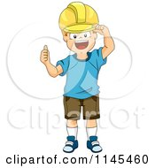 Cartoon Of A Construction Boy Wearing A Hard Hat And Holding A Thumb Up Royalty Free Vector Clipart