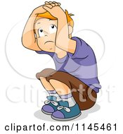 Cartoon Of A Scared Boy Crouching And Covering His Head Royalty Free Vector Clipart by BNP Design Studio