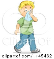 Cartoon Of A Sick Blond Boy Blowing His Nose Royalty Free Vector Clipart