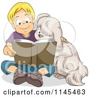 Cartoon Of A Blond Boy Reading A Book To His Dog Royalty Free Vector Clipart