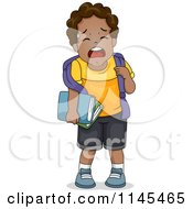 Cartoon Of A Crying Black School Boy Royalty Free Vector Clipart