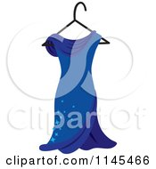 Clipart Of A Blue Dress With Sparkles On A Hanger Royalty Free Vector Illustration