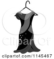 Clipart Of A Black Dress With Sparkles On A Hanger Royalty Free Vector Illustration