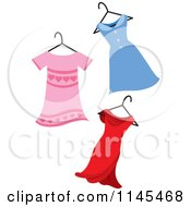 Clipart Of Pink Blue And Red Dresses On A Hanger Royalty Free Vector Illustration