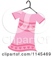 Clipart Of A Pink Girls Dress With Hearts On A Hanger Royalty Free Vector Illustration by Rosie Piter