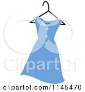Clipart Of A Blue Womans Dress On A Hanger Royalty Free Vector Illustration by Rosie Piter