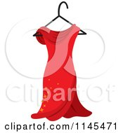 Clipart Of A Red Dress With Sparkles On A Hanger Royalty Free Vector Illustration by Rosie Piter