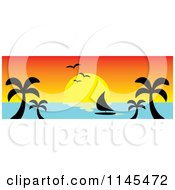 Clipart Of A Hawaian Ocean Sunset Website Banner With Palm Trees And A Sailboat 4 Royalty Free Vector Illustration