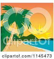 Clipart Of A Tropical Beach Coastline At Sunset Royalty Free Vector Illustration