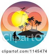 Clipart Of A Circle Scene Of Gulls And A Sunset Over A Sailboat Silhouetted Tropical Island Royalty Free Vector Illustration