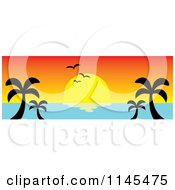 Clipart Of A Hawaian Ocean Sunset Website Banner With Palm Trees And Seagulls 2 Royalty Free Vector Illustration