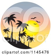Clipart Of A Circle Scene Of Gulls And A Sunset Over Silhouetted Island Palm Trees Royalty Free Vector Illustration
