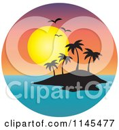 Clipart Of A Circle Scene Of Gulls And A Sunset Over Silhouetted Tropical Island Royalty Free Vector Illustration