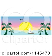 Hawaian Ocean Sunset Website Banner With Palm Trees And A Sailboat 2