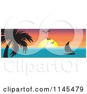 Clipart Of A Hawaian Ocean Sunset Website Banner With Palm Trees And A Sailboat Royalty Free Vector Illustration