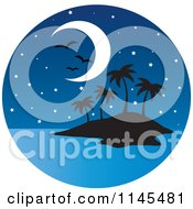Clipart Of A Circle Scene Of Gulls And A Moon Over A Silhouetted Tropical Island Royalty Free Vector Illustration