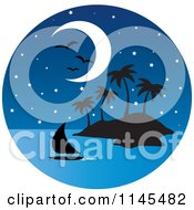 Clipart Of A Circle Scene Of Gulls And A Moon Over A Sailboat And Silhouetted Tropical Island Royalty Free Vector Illustration by Rosie Piter