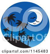 Clipart Of A Circle Scene Of Gulls And A Moon Over Silhouetted Island Palm Trees Royalty Free Vector Illustration