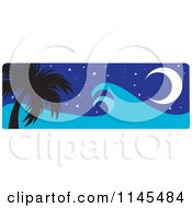 Clipart Of A Hawaian Moon With Palm Trees And A Tsunami Wave Night Royalty Free Vector Illustration by Rosie Piter