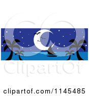 Clipart Of A Hawaian Moon With Palm Trees A Sailboat And Seagulls At Night Royalty Free Vector Illustration