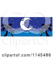 Clipart Of A Hawaian Moon With Palm Trees And Seagulls At Night Royalty Free Vector Illustration