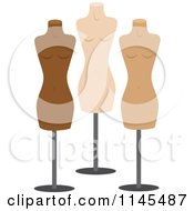 Clipart Of Three Fashion Mannequins Royalty Free Vector Illustration by Rosie Piter