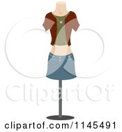 Clipart Of A Fashion Design Mannequin With A Shirt And Denim Skirt Royalty Free Vector Illustration by Rosie Piter