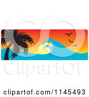 Clipart Of A Hawaian Ocean Sunset Website Banner With Palm Trees Gulls And Waves 2 Royalty Free Vector Illustration by Rosie Piter