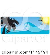 Clipart Of A Hawaian Ocean Sunset Website Banner With Palm Trees Gulls And Waves Royalty Free Vector Illustration