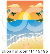 Clipart Of A Tropical Beach Sunset In The Bay With Seashells Royalty Free Vector Illustration by Rosie Piter