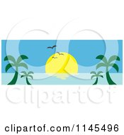 Clipart Of A Hawaian Ocean Sunset Website Banner With Palm Trees And Seagulls Royalty Free Vector Illustration