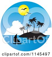 Clipart Of A Circle Scene Of Gulls And A Sun Over A Sailboat And Silhouetted Tropical Island Royalty Free Vector Illustration